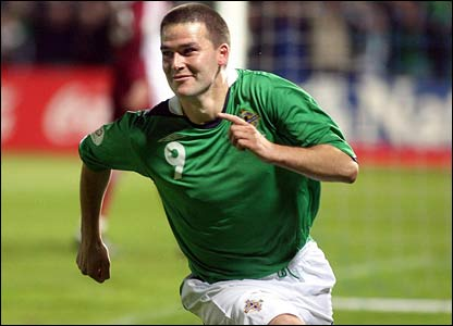David Healy celebrates his goal against Latvia