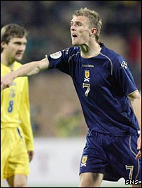 Scotland's Darren Fletcher appeals a decision in Kiev
