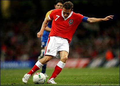 Craig Bellamy scores for Wales