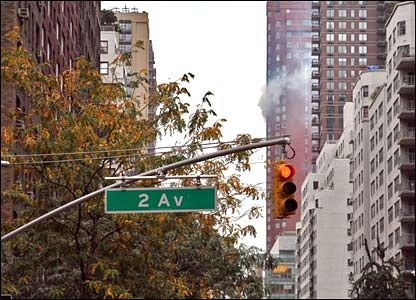 Building on fire in New York. Photo sent in by Tom Lindsay