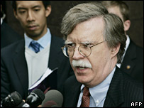 US envoy John Bolton talks to journalists at the United Nations in New York