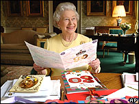 Queen reading birthday cards
