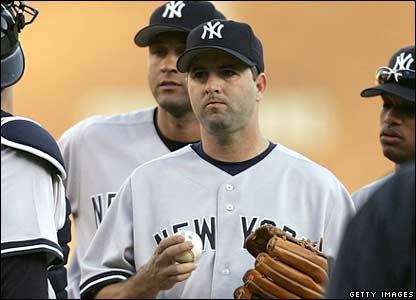 Cory Lidle (centre) a member of the New York Yankees baseball club. File photo