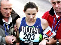 Jo Pavey receives assistance after the Great North Run