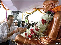 Film star Sanjay Dutt garlands Gandhi's statue