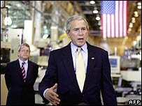 US President George W Bush visiting a factory