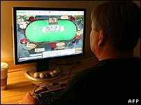 A man playing online poker in the US