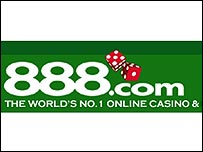 A logo for the 888.com online poker game