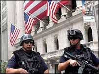 US police guard the New York stock exchange