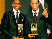 Eto'o (left), Ronaldinho (right)