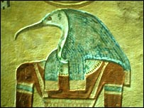 Thoth, the ibis god, from the Valley of the Kings in Egypt, approx 1200 BC. Image: Martin Davies