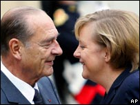 Jacques Chirac and Angela Merkel