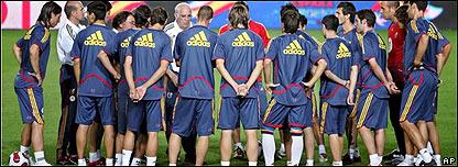 Luis Aragon�s y el equipo espa�ol