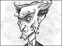 Count Olaf in a Brett Helquist illustration (Courtesy of HarperCollins Childrens)