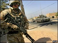 British soldier on Iraq street patrol