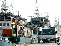 North Korean ships loaded with old bikes stand in the Japanese port of Sakaiminato