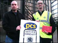 Pickets at the Glasgow office