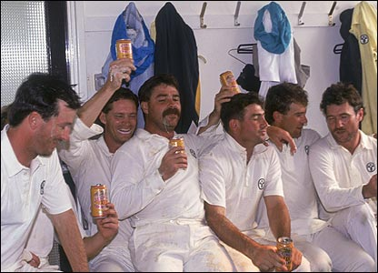 The Australian dressing-room after one of four Ashes victories in 1989