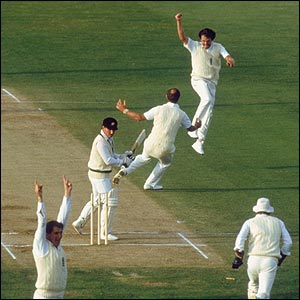 Richard Ellison celebrates as he bowls Australia star Allan Border