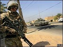 A British army patrol in Basra in southern Iraq