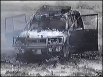 Terry Lloyd's burnt-out vehicle