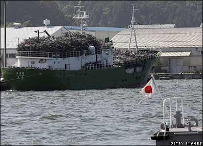 A North Korean ship with old bikes at Japan's Maizuru port