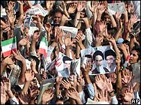 Supporters of Iranian President Mahmoud Ahmedinejad in Shahriar