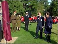Princess Anne at the memorial sculpture
