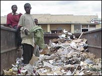 Clearing rubbish in Kigali, Rwanda
