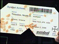 An airline ticket with an RFID tag embedded