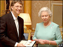 Bill Gates collecting his honour from the Queen
