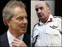 Tony Blair (l) and General Sir Richard Dannatt