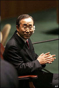 Ban Ki-moon listens to greetings after his election as secretary-general