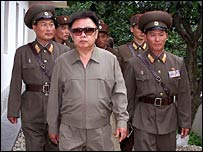 Kim Jong-il (centre) accompanied by North Korean soldiers in an undated photo