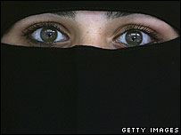 A Muslim woman wearing a veil