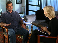 Mel Gibson being interviewed by ABC presenter Diane Sawyer