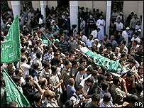 Funeral of Palestinian militants killed in clashes with Israeli troops