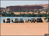 Four-wheel drive cars at an oasis in the Sahara
