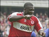 Yakubu celebrates his goal for Middlesbrough