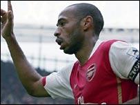 Henry celebrates scoring Arsenal's second
