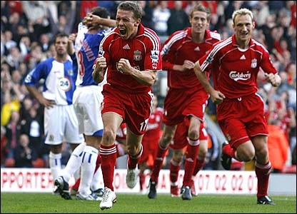 Craig Bellamy is ecstatic after scoring his first Premiership goal for Liverpool