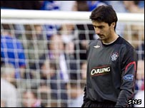 Lionel Letizi cuts a lonely figure at Ibrox