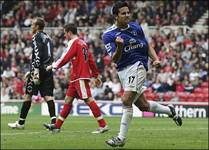Tim Cahill celebrates after scoring a fine individual goal