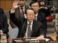 China's UN envoy, Wang Guangya, votes in favour of Resolution 1718