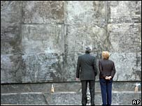 President Bachelet (right) looks at a memorial at Villa Grimaldi to the victims of military rule