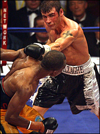 Joe Calzaghe throws a punch at Sakio Bika