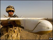 Soldier with surveillance drone