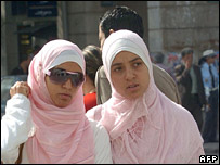 Two women in the Tunisian capital on 12 October 2006