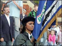 Mr Adams spoke during a republican commemoration rally