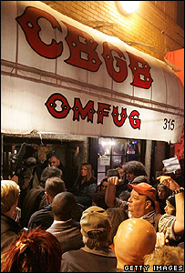 Music fans outside CBGB